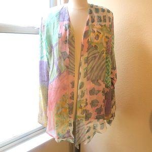 Pastel Mixed print Asymmetrical hemline jacket
